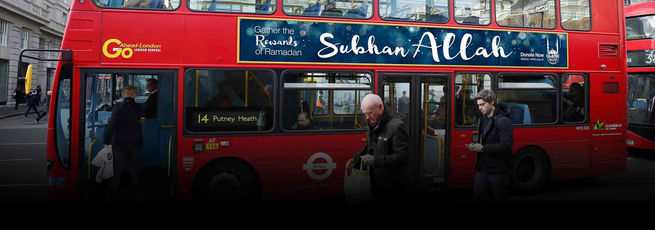 Ônibus se preparam para o Ramadã na Inglaterra